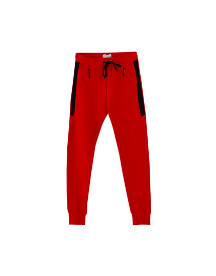 Drawstring ottoman jogging trousers