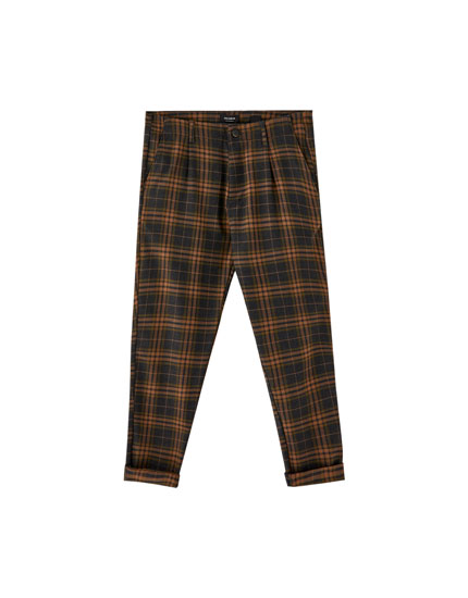 Large check print tailored trousers