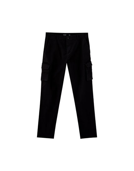 Black cargo trousers with pockets