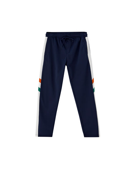 Jogging trousers with two-tone side stripe