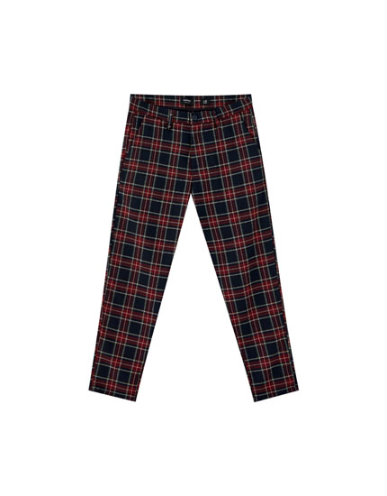 Tartan check chino trousers