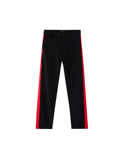 Tailored trousers with red side stripes