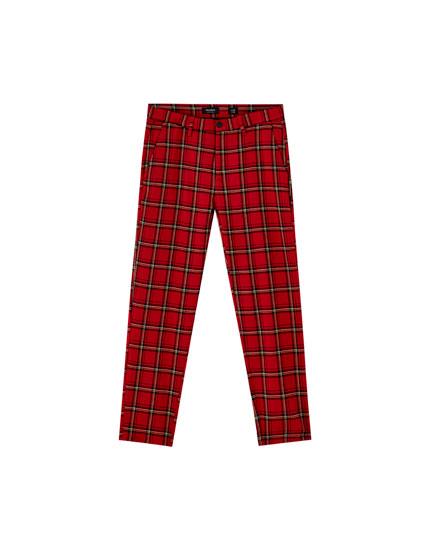 Pantaloni chino tailoring cu imprimeu ecosez