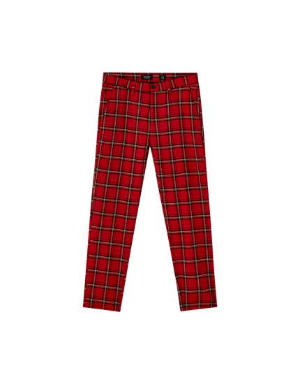 Pantalon chino tailoring carreaux tartan