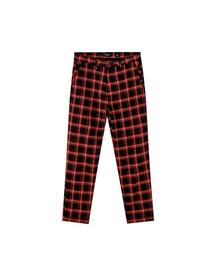 Tailored tartan check chinos