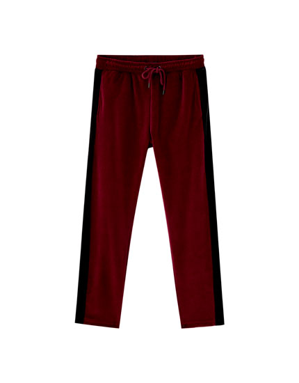 Burgundy velvet jogging trousers