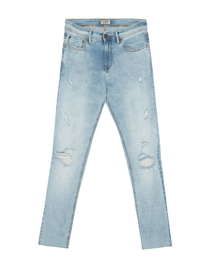 Superskinny fit jeans met scheuren