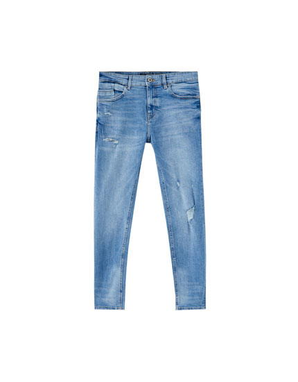 Men's bleached-effect skinny jeans