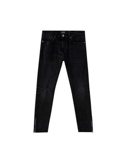 Superskinny fit jeans met ritsen