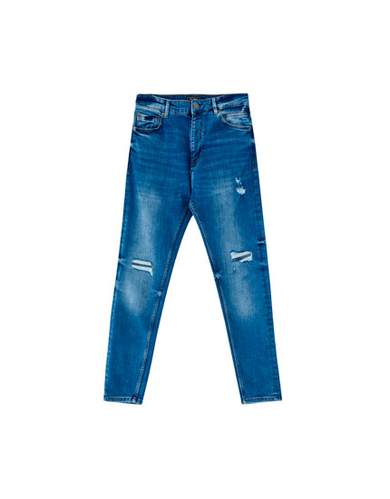 Jeans carrot fit lavado medio