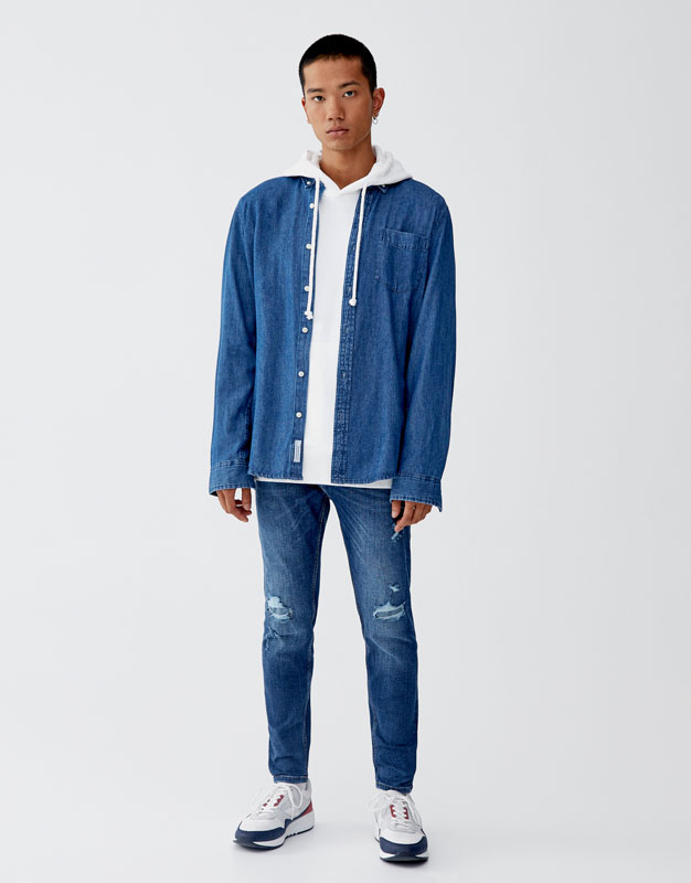 Jeans Carrot Fit Premium Em Azul Escuro by Pull & Bear