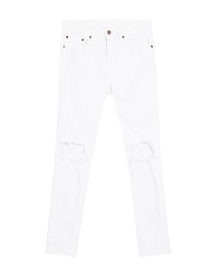 super blanco skinny Jeans rotos fit Bx1Bqnw