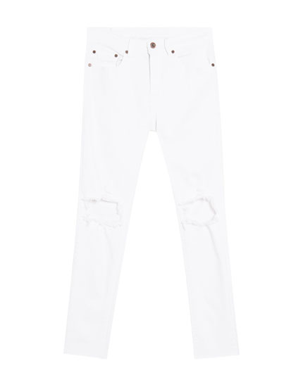 Witte superskinny fit jeans met scheuren