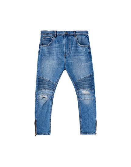 Arc fit biker jeans met panels