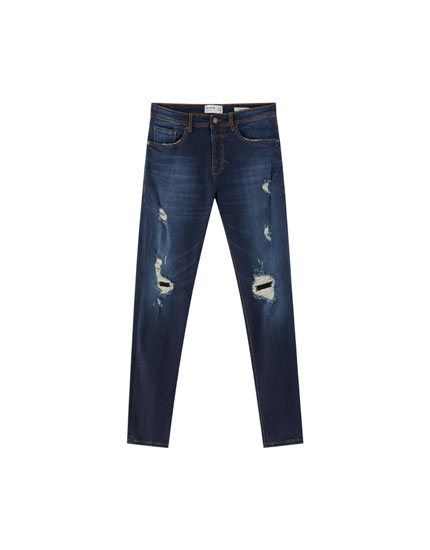 Skinny-Fit Premium-Jeans mit Rissen