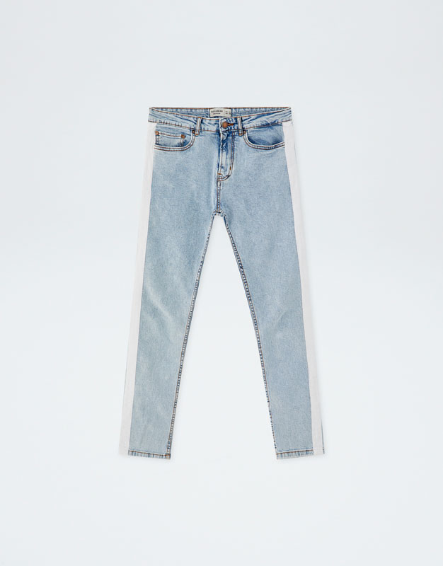 297e246ffbb2 Slim fit jeans with white band - PULL BEAR
