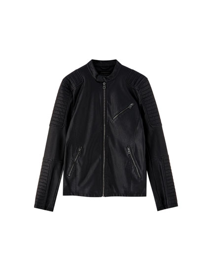 Biker jacket with raised sleeve design