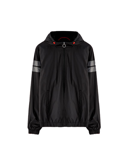 Windbreaker with contrasting stripes