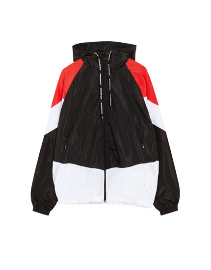 Hooded windbreaker with panels