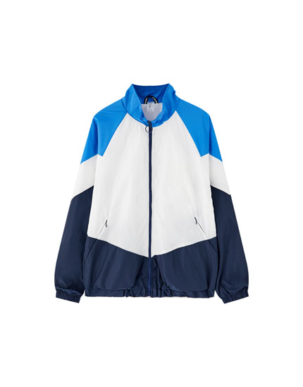 Retro colour block windbreaker