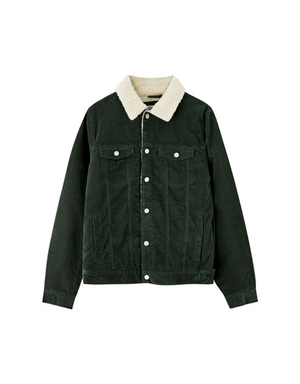 Corduroy trucker jacket with faux shearling collar