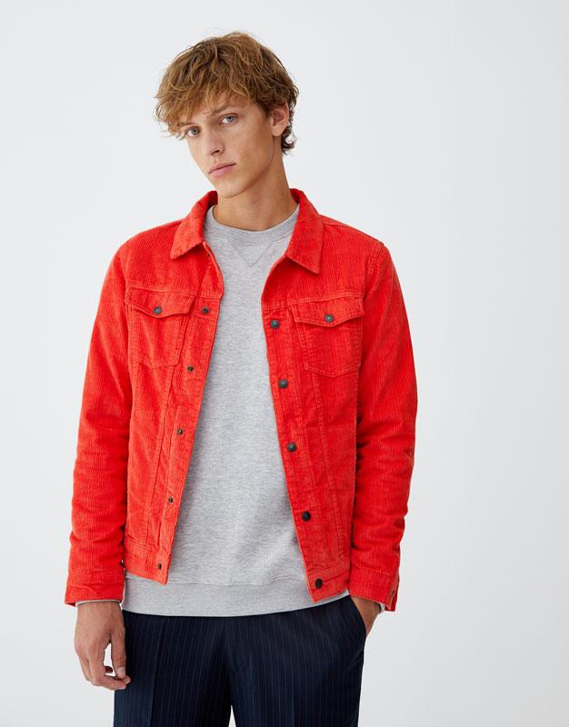 Veste velours cotele homme rouge