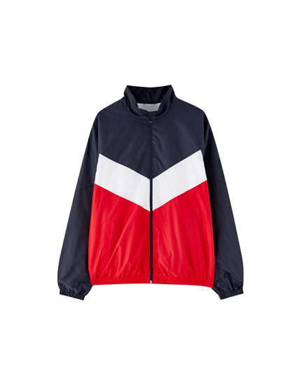 Windbreaker-Jacke mit Colour-Bock im Retrolook