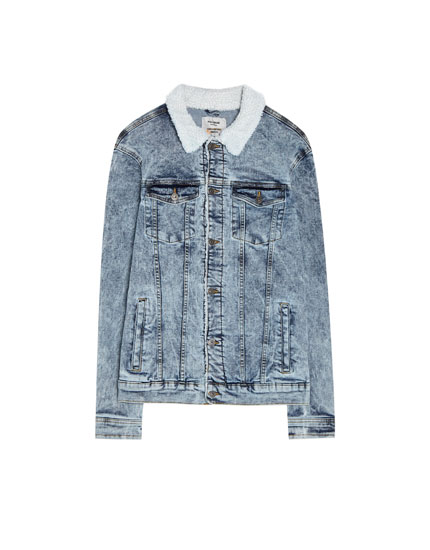 Denim sherpa jacket with faux shearling collar