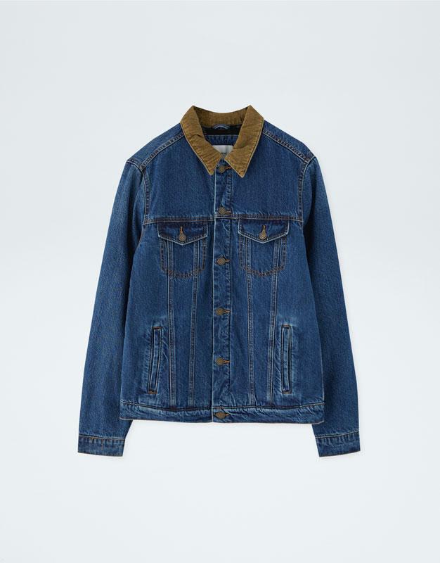 7118fa3441 Denim jacket with corduroy collar - PULL&BEAR