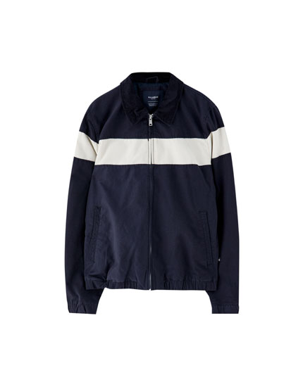 Worker jacket with corduroy collar