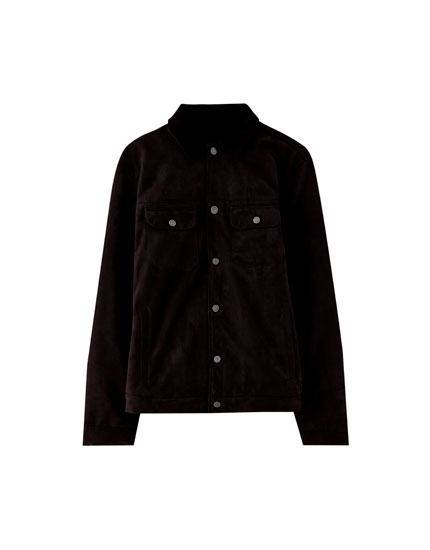 Trucker jacket with corduroy collar