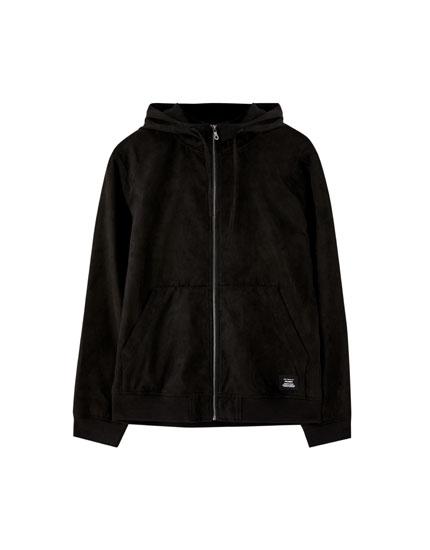 Faux suede hoodie