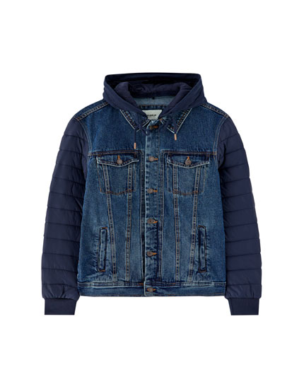 Denim jacket with quilted sleeves