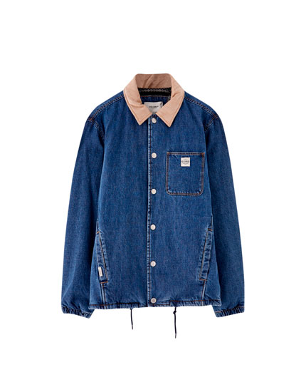 Denim trucker jacket with contrasting collar