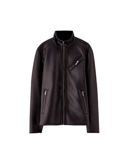 Faux leather jacket with faux shearling lining