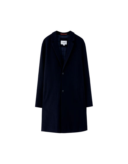 Navy blue woolly coat with padding