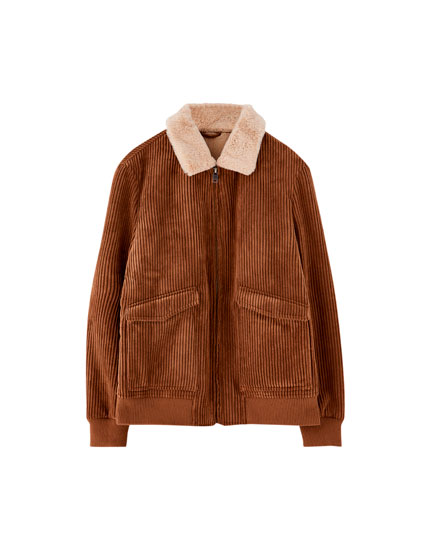 Corduroy aviator jacket with faux fur collar