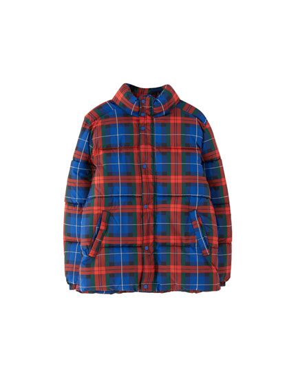 Checked puffer jacket