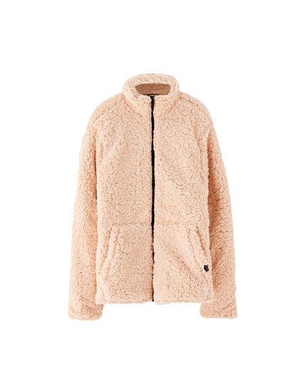 Embellished faux shearling jacket