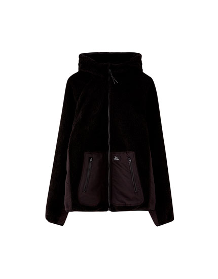 Faux shearling jacket with pouch pocket