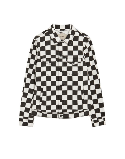 Chequered flag print denim jacket