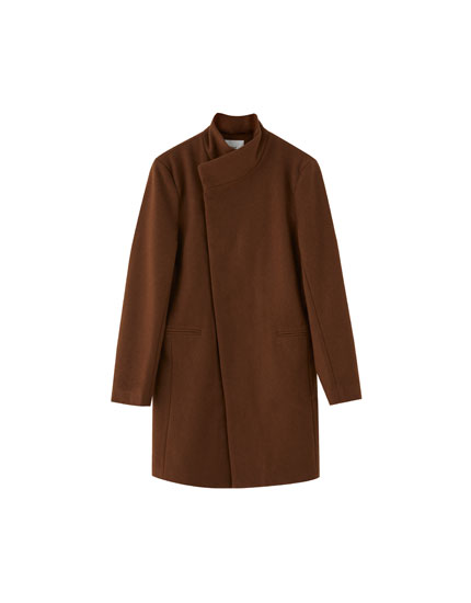Tan woolly coat with side fastening