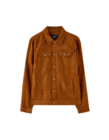 Faux suede trucker jacket