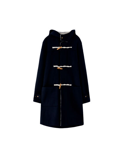 Navy blue woolly trench coat with hood