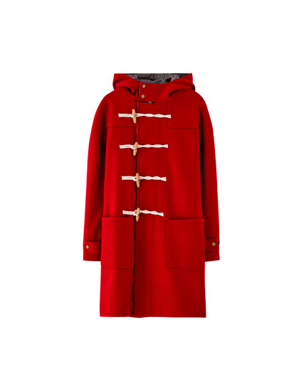 Hooded woolly trench coat with toggles