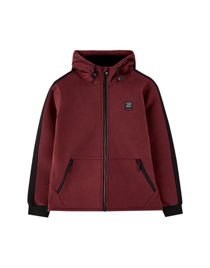 Synthetic rubber hooded jacket