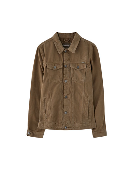 Trucker jacket with coloured pocket