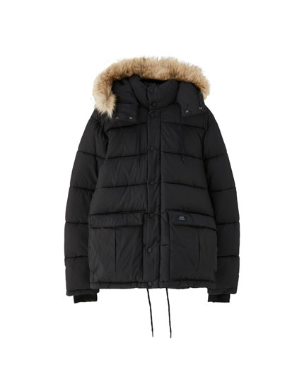 Puffer jacket with faux fur hood trim