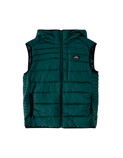 Lightweight quilted gilet with hood