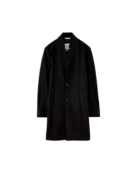 Basic woolly fabric coat with inverted lapel collar
